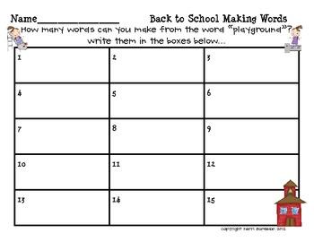 Back to School Making Words! Literacy Center FREEBIE