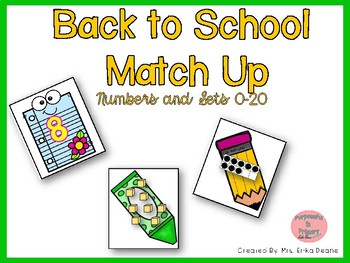 Back to School Match Up! Ordering & Matching Numbers and Arrangements to 20