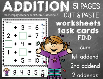 Missing Addends Worksheets