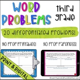 Digital   Print Word Problems 3rd Grade   Graphic Organizer   Distance Learning