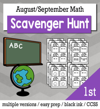 Back to School Math 1st Grade Scavenger Hunt Game Bundle