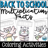 Back to School Math Packet: Multiplication Facts Coloring