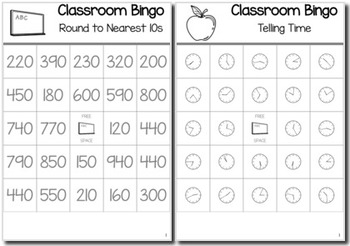Back to School Math 3rd Grade BINGO Game Bundle