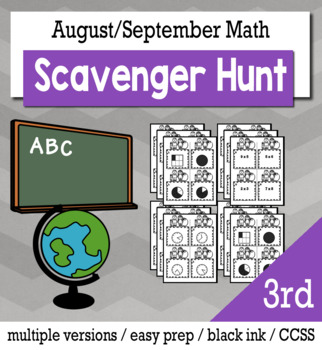 Back to School Math 3rd Grade Scavenger Hunt Game Bundle