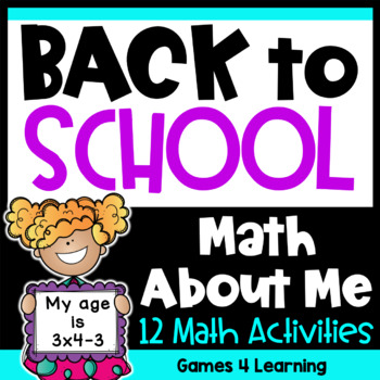 Back to School Math All About Me: Back to School Activities for Math