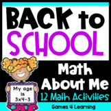 Back to School Math Activities: Back to School Activities Math All About Me