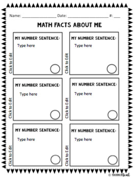 Back to School Math About Me! Editable