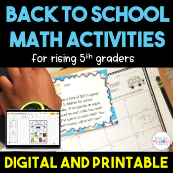 Back to School Math Activities - 5th