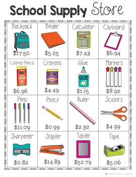 Back to School Math Activities Adding and Subtracting Decimals Shopping
