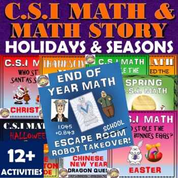 Halloween Math Activity -plus CSI and Math Story Seasonal Bundle!