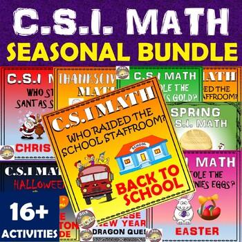 Halloween Math Activity- plus CSI and Math Story Seasonal Bundle. Halloween Fun