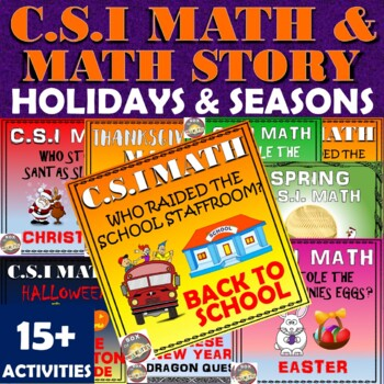Chinese New Year Math Activity+ C.S.I Holiday & Seasonal Bundle Math & Mysteries