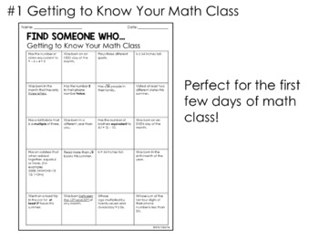 Back to School Math Getting to Know You Activites: Find Someone Who...