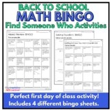 Back to School Math Activities: Middle School Find Someone Who...