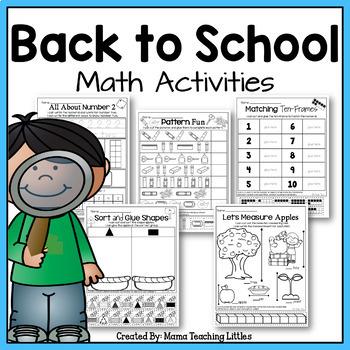 Back to School Math Activities - No Prep - Just Print