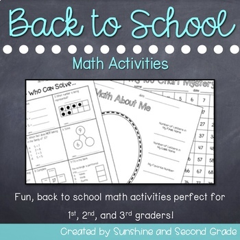 Back to School Math Activities for 1st, 2nd, and 3rd Graders