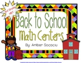 Back to School Math Activities for Math Stations or Whole Group