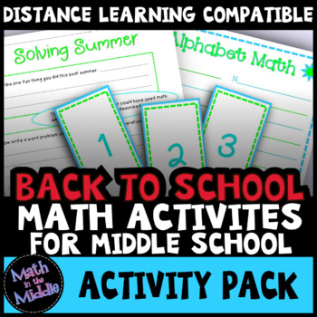 Back to School Math Activities for Middle School by Math in