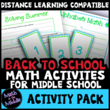 Back to School Math Activities for Middle School - Distanc