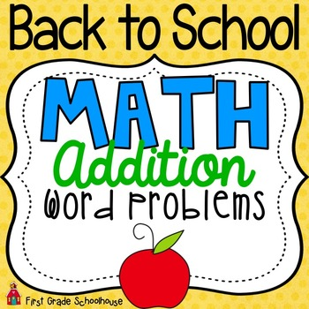 Back to School Math Addition Word Problems