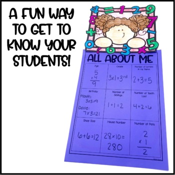 Back to School Math All About Me Activity and Craftivity