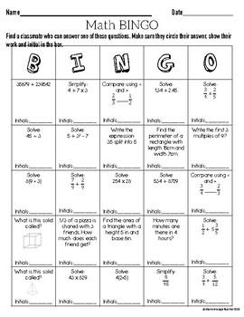 Back to School Math Bingo