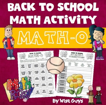 Back to School Math Bingo
