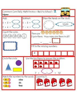 2nd Grade Math Bundle-Daily Number/Graphs/Daily Review Back to School Theme