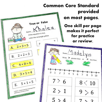 Back to School Math CCSS First Grade Just Print It (Common Core)