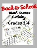 Back to School Math Activity Grade 3-4