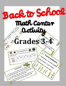 Back to School Math Center Activity-Grades 3-4