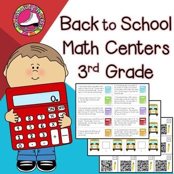 Back to School Math Centers 3rd Grade - Reviews 2nd Grade Standards