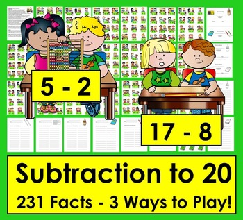 School Themed Subtraction Math Centers Activities: 3 Ways to Play!