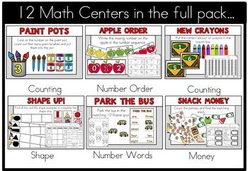 Back to School September Math Centers Kindergarten Freebie