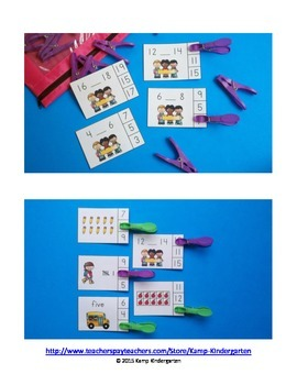 Back to School Math Centers (Numerals to 20)