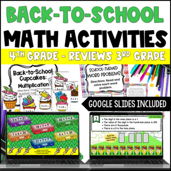 Back to School Math Centers for 4th Grade {Common Core Aligned Reviews 3rd CCSS}