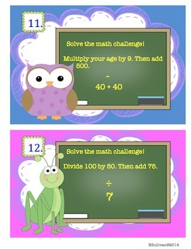 Back to School Review Math  Add Subtract Multiply Divide Gr 3 -5