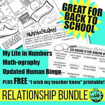 End of Year Math Classroom activities - Relationship Bundle! - Grades 6-12