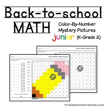 Back-to-School Math Color-By-Number Bundle (K-2)
