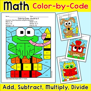 Color by Number School Pets Differentiated Math Bundle: Frog, Cat, Dog, Owl