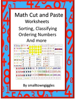 Math Center Cut and Paste Activities, Classifying, Counting, Shapes, Math Skills