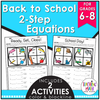 Back to School Math Equations Activity