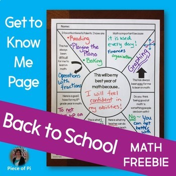 Back to School Math FREE Get to Know Me