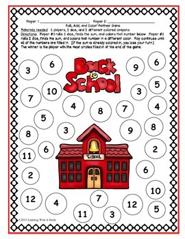 Back to School FREEBIE Math Game  Roll, Add, & Color -  Print & Play!