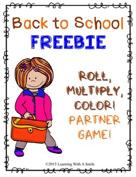 Back to School Math FREEBIE Roll, Multiply, & Color Partner Game - Print & Play!
