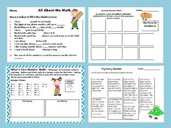 Back to School Math Fun Grades 3rd - 5th