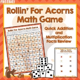 Math Facts Game, Addition, Multiplication, 100's Chart Review, Fall Themed