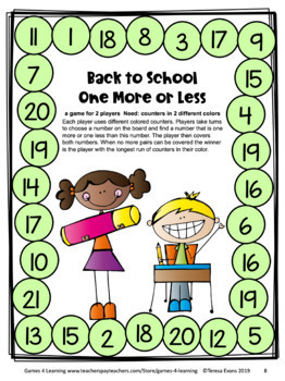 Back to School Math Games First Grade: Back to School Activities