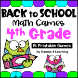 Back to School Math Games Fourth Grade: Beginning of the Year Activities