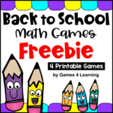 Back to School Math Games Free [Beginning of the Year Activities for Math]
